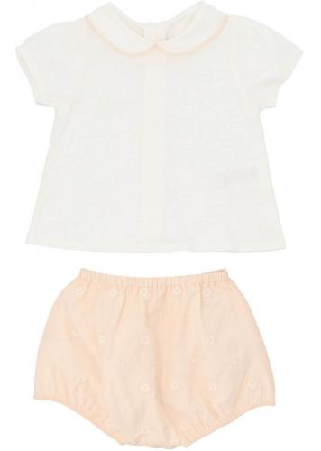 Chloe T-Shirt And Shorts In White And Pink C98253203 Pink
