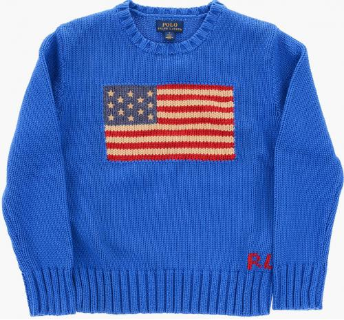 Polo Ralph Lauren Kids Embroidered Crew-Neck Sweater Blue