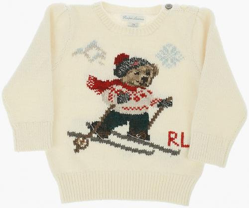 Polo Ralph Lauren Kids Teddy Bear Embroidered Sweater White