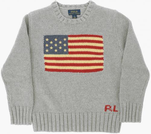 Polo Ralph Lauren Kids Embroidered Cable Knit Sweater Gray
