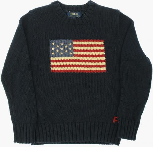 Polo Ralph Lauren Kids Embroidered Cable Knit Sweater BLUE