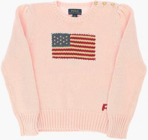 Polo Ralph Lauren Kids Embroidered Cable Knit Sweater Pink
