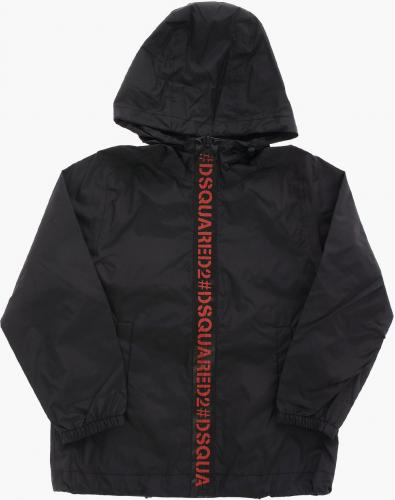Dsquared2 Kids Hooded Jacket with Zip Closure BLACK