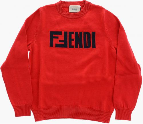 Fendi Kids Embroidered Crew-Neck Sweater Red