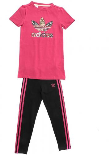 adidas Originals Printed Suit In Fuchsia And Black GN2214 Pink