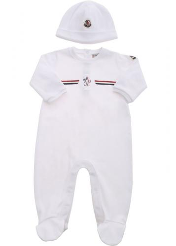 Moncler Kids Romper Suit And Hat Set In White 8O702008392E002 White