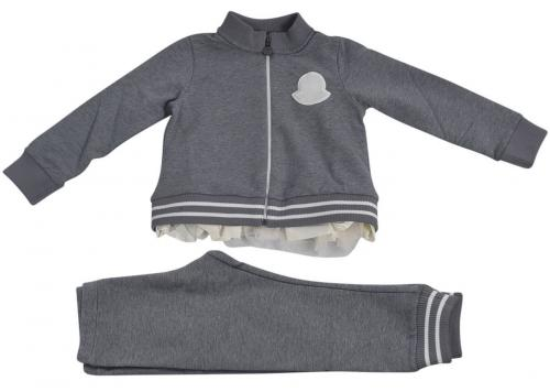 Moncler Kids Fleece Tracksuit In Grey With Tulle 8M72710 809EH 987 Grey