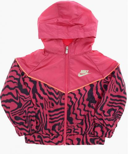 Nike Kids Hooded Zebra-Print Jacket GLOW IN THE DARK PINK