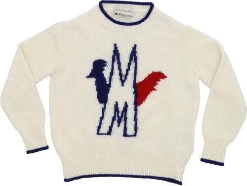 Moncler Kids Blue And Red Inlaid Pullover In White 9007300 A9096 034 Cream