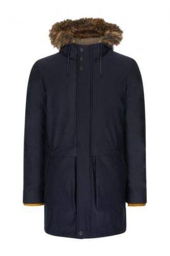 Ted Baker London Imbracaminte Barbati Brytun Hooded Parka With Faux Fur Hood NAVY