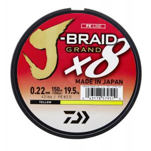 Daiwa J-Braid Grand X8 Galben 0.16mm 10kg 135m
