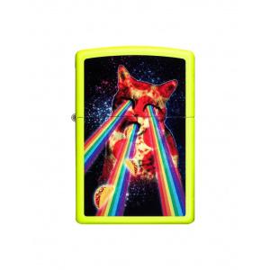 Zippo Brichetă 29614 Pizza Cat Rainbow Neon Yellow