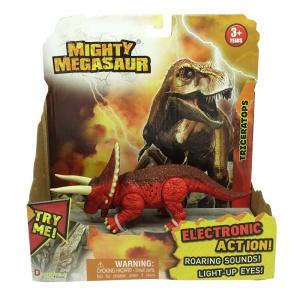 Dragon-I Toys Dinozaur cu sunete si lumini Triceraptos, 21 x 20 cm, Rosu