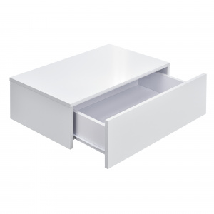 [en.casa] Comoda Model 1, MDF, 46 x 30 x 15 cm, cu 1 sertar - alb lucios