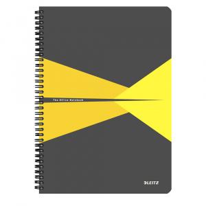 Leitz Caiet de birou Office, A4, coperta carton, cu spira, 90 file, matematica, galben