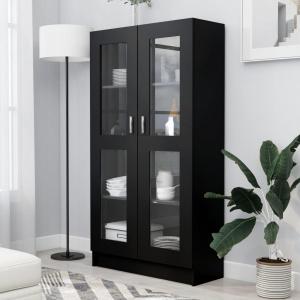 vidaXL Dulap cu vitrină, negru, 82,5 x 30,5 x 150 cm, PAL 802760
