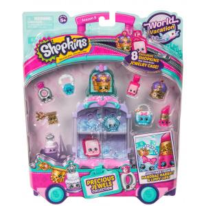Shopkins Mini dulciuri asortate si carucior, 8 figurine Purple