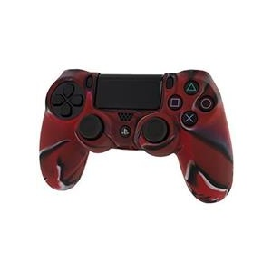 Assecure Pro Soft Silicone Protective Cover With Ribbed Handle Grip Camo Red Ps4