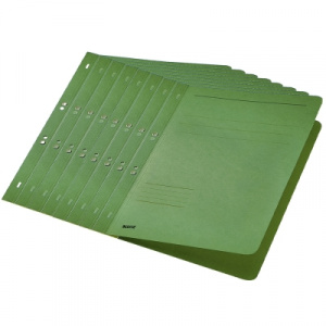 Leitz Dosar carton color, cu capse, coperta 1/1 verde 50 buc/set PCKE37420055