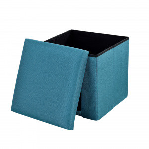 [en.casa] ® Puff - scaun rabatabil Marime L - MDF/poliester, 38 x 38 cm, turcoaz, cu  compartiment pentru depozitare