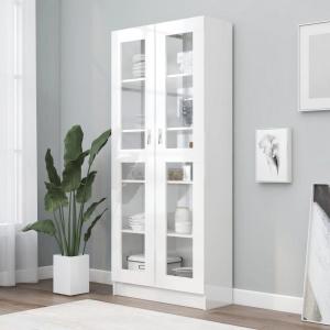 vidaXL Dulap cu vitrină, alb extralucios, 82,5 x 30,5 x 185,5 cm, PAL 802774