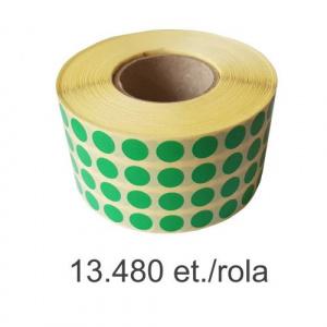 ZINTA Role etichete semilucioase rotunde, verzi, 10mm, 13.480 et./rola - 10X10X13480-SGP-R-GRE