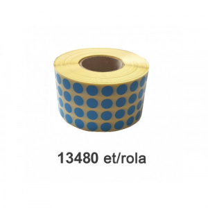 ZINTA Role etichete semilucioase rotunde, albastre, 10mm, 13.480 et./rola - 10X10X13480-SGP-R-BLUE