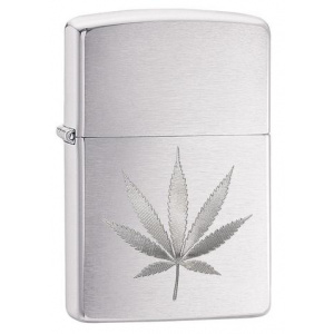 Zippo Chrome Marijuana Leaf Design 29587