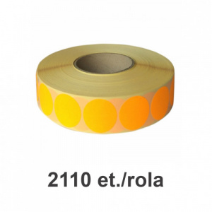 ZINTA Role etichete semilucioase rotunde portocalii fluo 17mm, 2110 et./rola - 17X17X2110-SGP-R-ORAF
