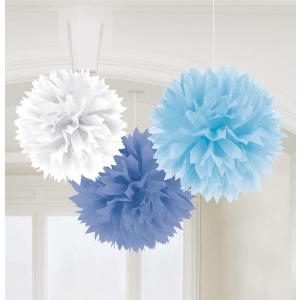 Amscan Decoratiuni Pom Pom 3 Buc - alb-albastru
