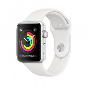 Apple Watch Series 3 GPS 38mm Carcasa din aluminiu argintie si bratara Sport alba (mtey2mp/a)