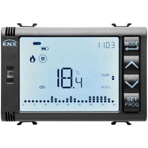 Gewiss gw12794h - timed thermostat/programmer with humidity management - knx - 3 modules - black - chorus