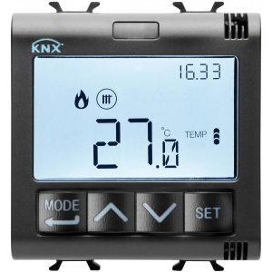 Gewiss gw12795h - thermostat with humidity management - knx - 2 modules - black - chorus