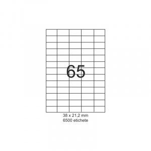 SMART labels Etichete autoadezive albe mate colturi drepte 65/A4(38x21.2mm)