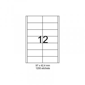 SMART labels Etichete autoadezive albe mate colturi drepte 12/A4(97x42.4mm)