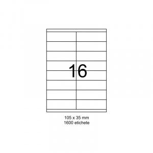 SMART labels Etichete autoadezive albe mate colturi drepte 16/A4(105x35mm)