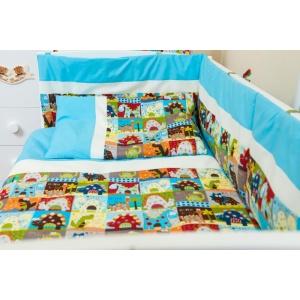 KidsDecor Lenjerie patut bebe cu turcoaz 5 piese Dinozauri 120 x 60 cm
