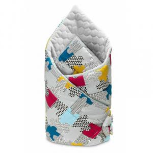 Sensillo Paturica Velvet Wrap Puzzle Gri 75x75 cm