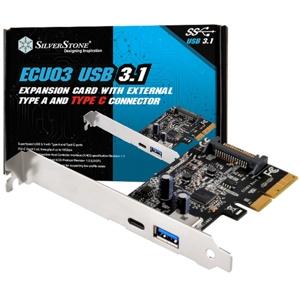 SilverStone adaptor PCIe 2.0 x2 (10Gbps) - 2x USB 3.1 externe Type-A/Type-C (SST-ECU03)