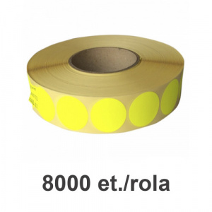 ZINTA Role etichete semilucioase rotunde galbene fluo 35mm, 2 et./rand, 8000 et./rola - 35X35X8000/2R-SGP-R-YELF