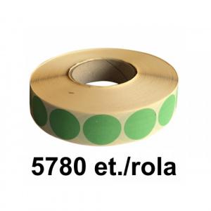 ZINTA Role etichete semilucioase rotunde verzi 23mm, 5780 et./rola - 23X23X5780-SGP-R-GREP