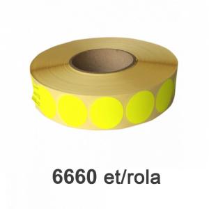 Raflatac-Budaval Role de etichete semilucioase rotunde galbene 20mm, 6660 et./rola
