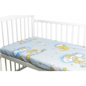 Nichiduta Cearceaf din bumbac cu elastic Ursuletul somnoros Albastru 120x60 cm