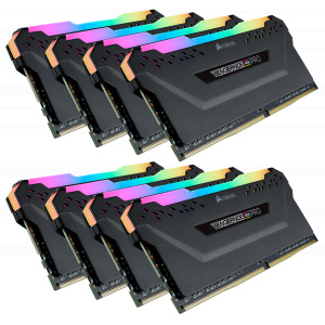 Corsair VENGEANCE® RGB PRO 256GB (8 x 32GB) DDR4 DRAM 3000MHz C16 Memory Kit — Black CMW256GX4M8D3000C16