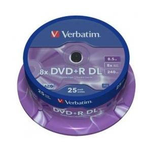 Verbatim DVD+R Double Layer 8x Matt Silver 25pk Spindle (43757)
