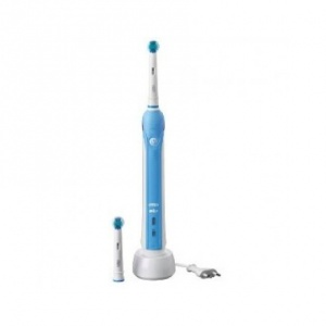 The Oral-B Pro Power Electric Rechargeable Toothbrush provides a clinically proven superior clean*. The professional dentist inspired design of the CrossAction toothbrush head surrounds each tooth with bristles angled at 16 degrees and removes up to % more plaque along the gum line*.