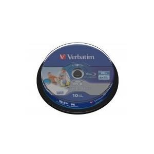 Verbatim BD-R SL Datalife 25GB 6x Wide Inkjet Printable 10 Pack Spindle (43804)