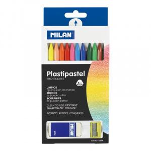 Milan Creioane colorate cerate 12 + radiera + ascutitoare