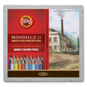 Koh-I-Noor Set 24 creioane colorate Aquarell MONDELUZ, cutie metalica, landscape