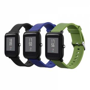 KRASSUS Set 3 curele universale din silicon uni 20mm compatibile cu Samsung Gear Sport/ S2 /Watch 42/ Huawei Watch 2, negru, verde si albastru